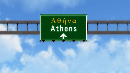 athens: Athens Greece Highway Road Sign Stock Photo