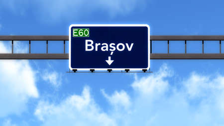 brasov: Brasov Romania Highway Road Sign