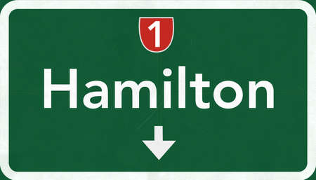 Hamilton New Zealand Highway Road Sign