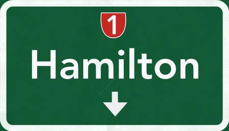 Segno Hamilton Nuova Zelanda Highway Strada Archivio Fotografico - 38242621
