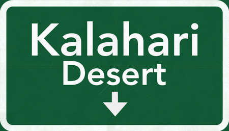 kalahari desert: Kalahari Desert Africa Highway Road Sign
