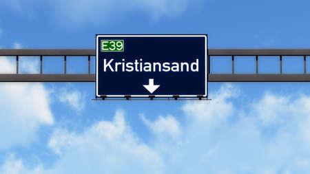 kristiansand: Kristiansand Norway Highway Road Sign Stock Photo