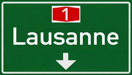 Losanna Svizzera Highway Road Sign Archivio Fotografico - 38486612