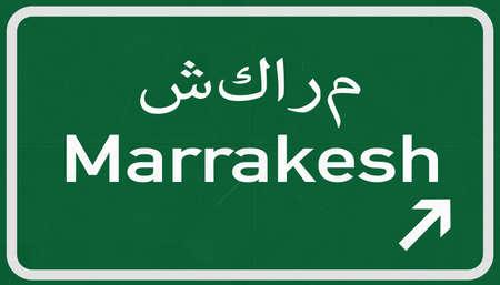 Marrakesh Morocco Highway Road Sign