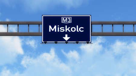 eastern europe: Miskolc Hungary Highway Road Sign