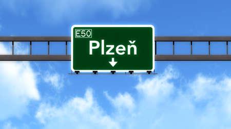Plzen Czech Republic Highway Road Sign Stock Photo