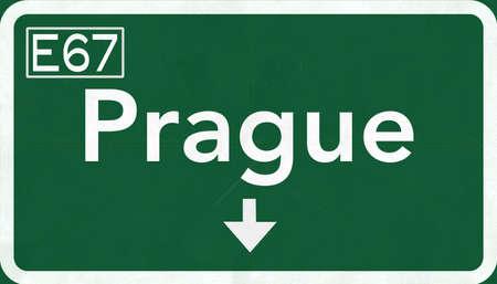 eastern europe: Prague Czech Republic Highway Road Sign