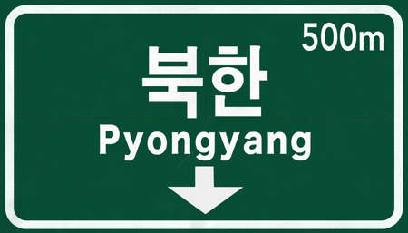 pyongyang: Pyongyang North Korea Highway Road Sign