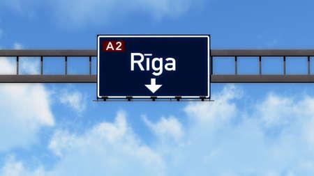 riga: Riga Latvia Highway Road Sign