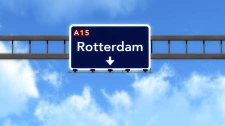 Rotterdam Netherlands Highway Road Sign 版權商用圖片 - 38242701