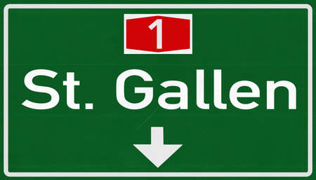 st gallen: St Gallen Switzerland Highway Road Sign Stock Photo