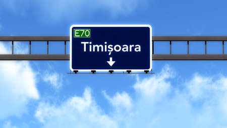 Timisoara Romania Highway Road Sign
