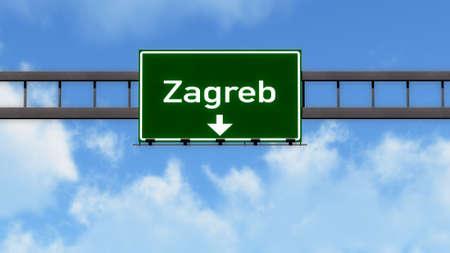 Zagreb Croatia Highway Road Sign
