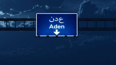nightfall: Aden Yemen Highway Road Sign at Night 3D artwork