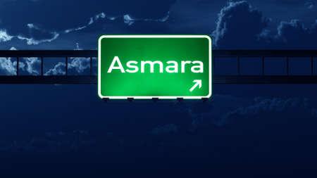 highway night: Asmara Eritrea Highway Road Sign at Night 3D artwork