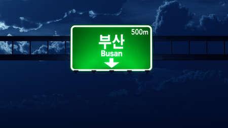 road night: Busan South Korea Highway Road Sign at Night 3D artwork