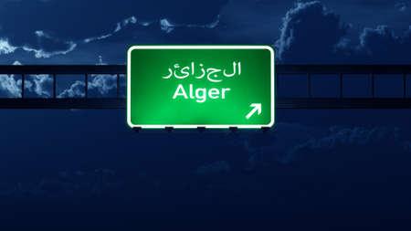 highway night: Alger Algeria Highway Road Sign at Night 3D artwork