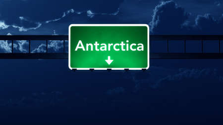 Antarctica Cold Desert Highway Road Sign at Night 3D artwork photo