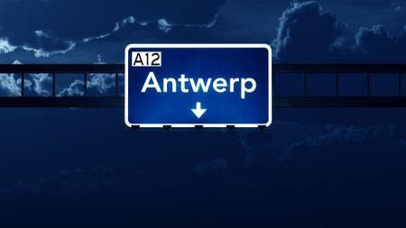 road night: Antwerp Belgium Highway Road Sign at Night 3D artwork