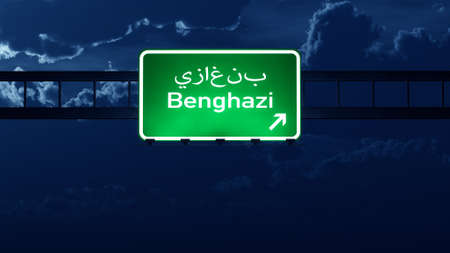 lybia: Benghazi Lybia Highway Road Sign at Night 3D artwork
