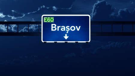 Brasov Romania Highway Road Sign at Night 3D artwork