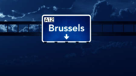 brussels: Brussels Belgium Highway Road Sign at Night 3D artwork
