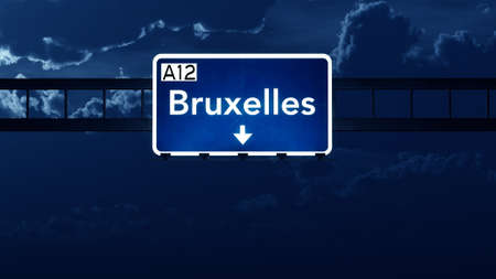 bruxelles: Bruxelles Belgium Highway Road Sign at Night 3D artwork Stock Photo