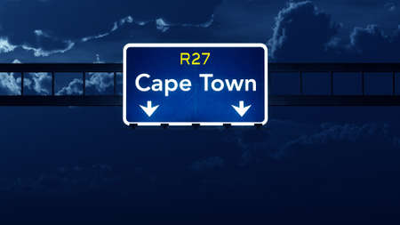 cape town: Cape Town South Africa Highway Road Sign at Night 3D artwork