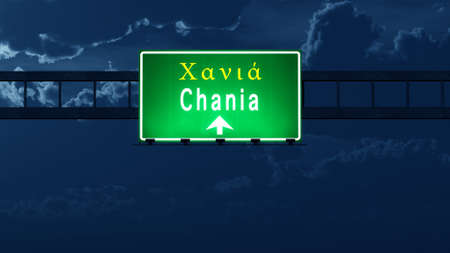 Chania Greece Highway Road Sign at Night 3D artwork