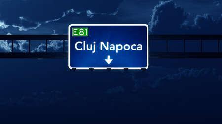 road night: Cluj Napoca Romania Highway Road Sign at Night 3D artwork