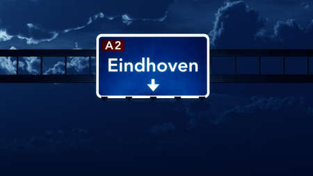 nightfall: Eindhoven Netherlands Highway Road Sign at Night 3D artwork