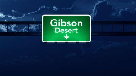 gibson: Gibson Desert Australia Highway Road Sign at Night 3D artwork