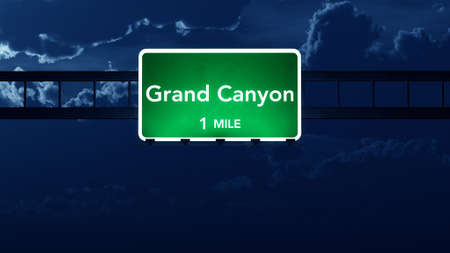 canyon: Grand Canyon USA Highway Road Sign at Night 3D artwork Stock Photo