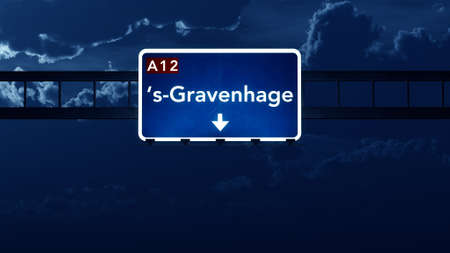 the hague: Gravenhage Netherlands Highway Road Sign at Night 3D artwork Stock Photo