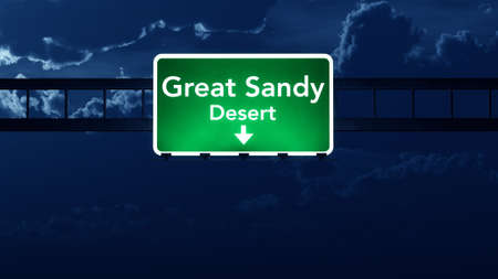 sandy: Great Sandy Desert Australia Highway Road Sign at Night 3D artwork