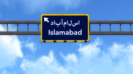 islamabad: Islamabad Pakistan Highway Road Sign Background Texture