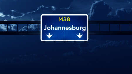 nightfall: Johannesburg South Africa Highway Road Sign at Night 3D artwork Stock Photo