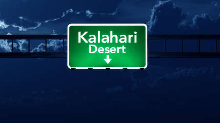 Kalahari Desert Africa Highway Road Sign at Night 3D artwork photo