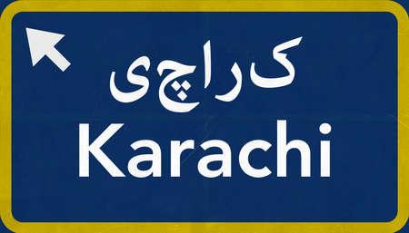 karachi: Karachi Pakistan Highway Road Sign Background Texture