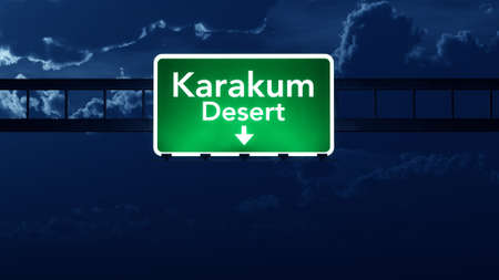 turkmenistan: Karakum Desert Turkmenistan Highway Road Sign at Night 3D artwork