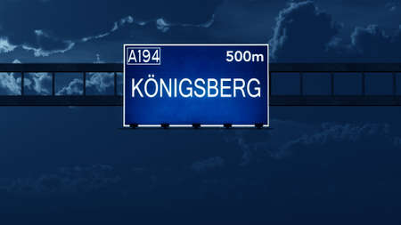 road night: Konigsberg fromer Prussia Highway Road Sign at Night 3D artwork Stock Photo
