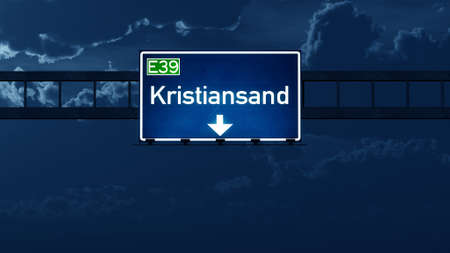 nightfall: Kristiansand Norway Highway Road Sign at Night 3D artwork