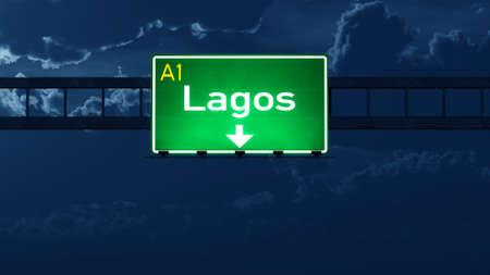 lagos: Lagos Nigeria Highway Road Sign at Night 3D artwork
