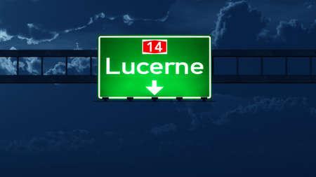 Lucerne Switzerland Highway Road Sign at Night 3D artwork