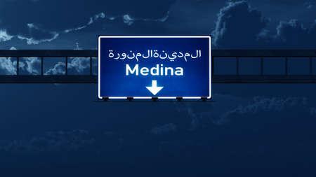 medina: Medina Saudi Arabia Highway Road Sign at Night 3D artwork