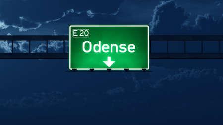 road night: Odense Denmark Highway Road Sign at Night 3D artwork