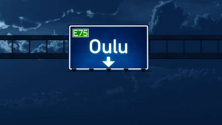 road night: Oulu Finland Highway Road Sign at Night 3D artwork