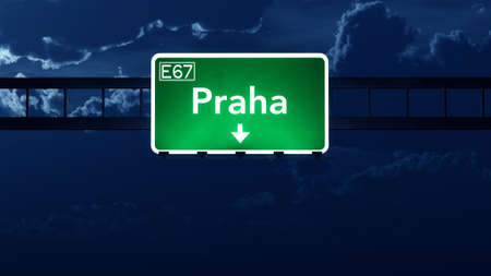 praha: Praha Czech Republic Highway Road Sign at Night 3D artwork