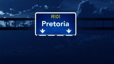 nightfall: Pretoria South Africa Highway Road Sign at Night 3D artwork Stock Photo