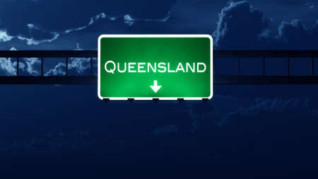 queensland: Queensland Australia Highway Road Sign at Night 3D artwork Stock Photo